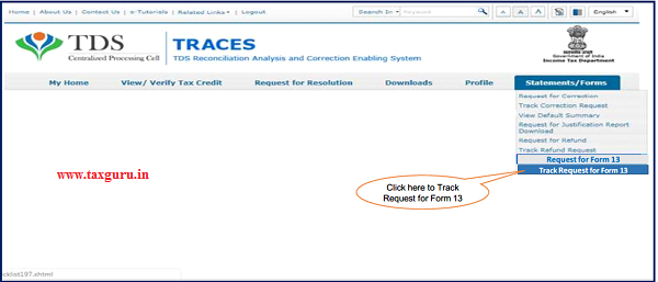"""Step 5 (Contd.) Go to """" Track Request Form-13"""" option under"""