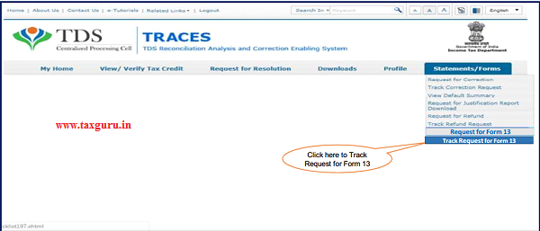 """Step 5 (Contd.) Go to Track Request Form-option under """"Statements tab and initiate the request"""