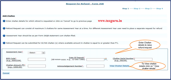 "Step 5 Enter ""challan details"" and click on ""view challan details"