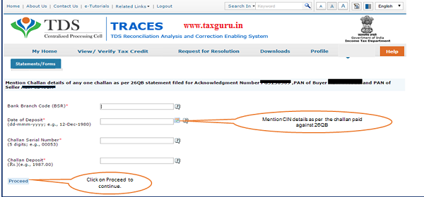"Step 5 Mention CIN details as per challan paid against 26QB then click on ""Proceed"""