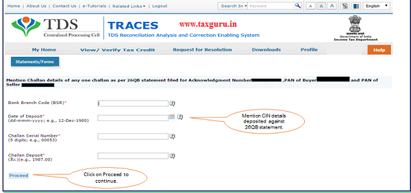 """Step 5 Mention CIN details deposited against 26QB statement and click on """"Proceed"""""""