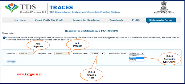 Step 5 Select Financial Year and Application Type then click on 'Proceed'