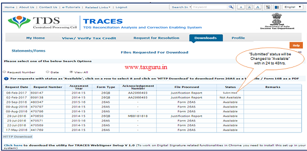 """Step 6 (Contd.) """"Submitted"""" status will be """"Available"""" with in 24 to 48hrs."""
