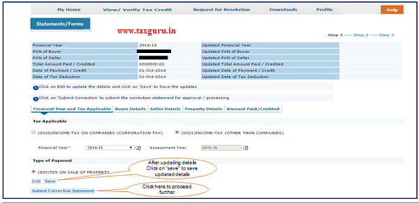 """Step 6 (Contd.) Click on """"Save"""" to save updated details then click on """"Submit Correction Statement"""""""