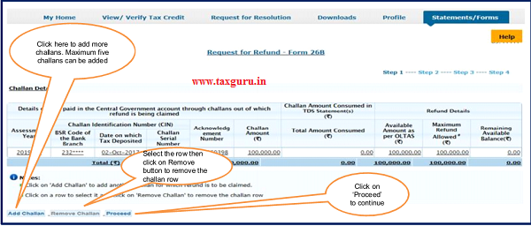 "Step 6 (Contd.) Click on ""proceed"" option for Request for Refund"