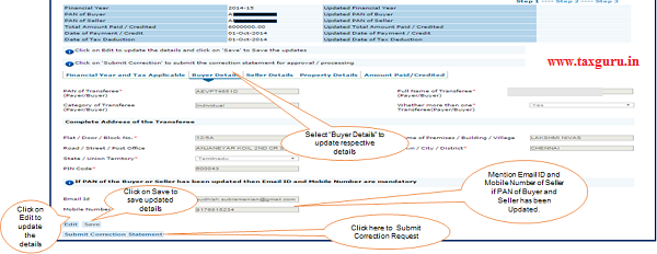 """Step 6 (Contd.) Select """"Buyer Details"""" option to update respective details"""