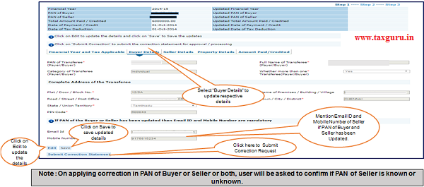 "Step 6 (Contd.) Select ""Buyer Details"" option to update respective details"