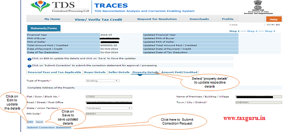 """Step 6 (Contd.) Select """"Property Details"""" to update Property Address details"""