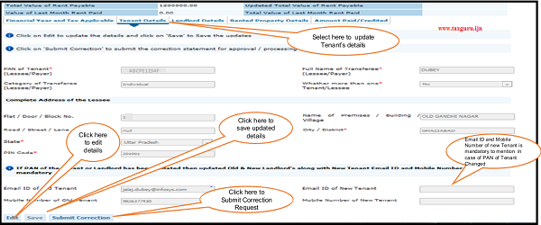 Step 6 (Contd.) Select Tenant Details tab to update respective