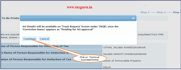 Step 6 (Contd.) User is navigated to final submission page where buyer is prompted with the below dialogue box.