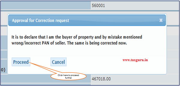 "Step 6 (Contd.) User is selecting ""AO"" tab if PAN of the Seller is Unknown then below dialogue box will pop up."