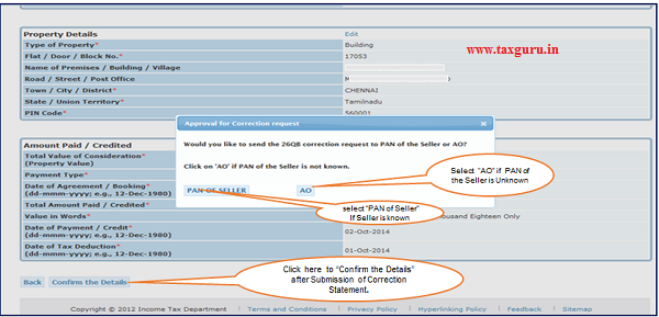 Step 6 (Contd.) User will be asked to confirm if PAN of the Seller is known or unknown