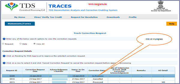 "Step 6 Go to "" Track Correction Request"" option under ""Statements Forms"