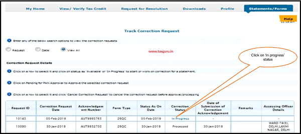 Step 6 Go to Track Correction Request option under