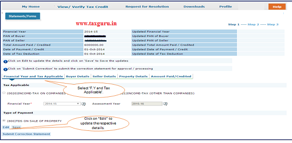 """Step 6 User can select """"Financial Year and Tax applicable"""" option to change F.Y in 26QB."""