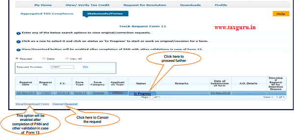 "Step 6(Contd.) Go to "" Track Request Form-13"" option under"