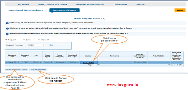 """Step 6(Contd.) Go to """" Track Request Form-13"""" option under"""
