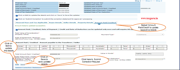 "Step 6(Contd. ) Select ""Amount Paid Credit"" to update respective details"