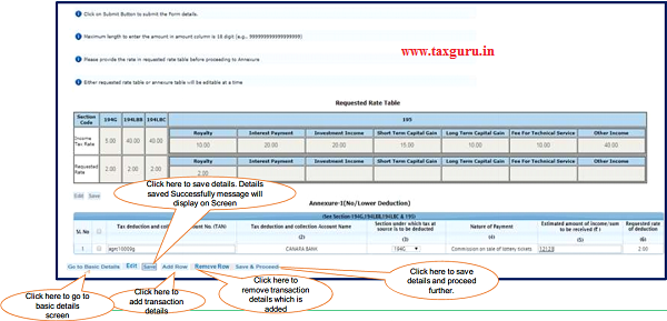 Step 7 (Contd.) Click on 'Add Row' button to add transaction details in Annexure-I (No Lower Deduction)