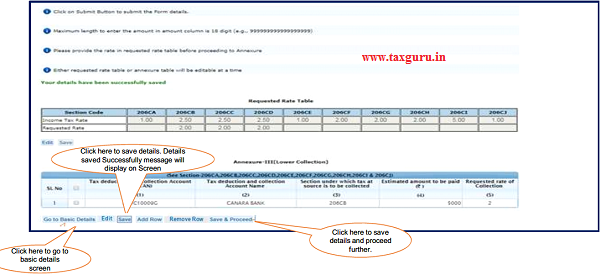 Step 7 (Contd.) Click on 'Add Row' button to add transaction details in Annexure-III Lower Collection
