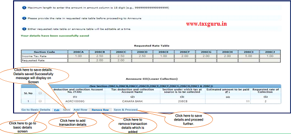 Step 7 (Contd.) Click on 'Add Row' button to add transaction details in Annexure-III Lower