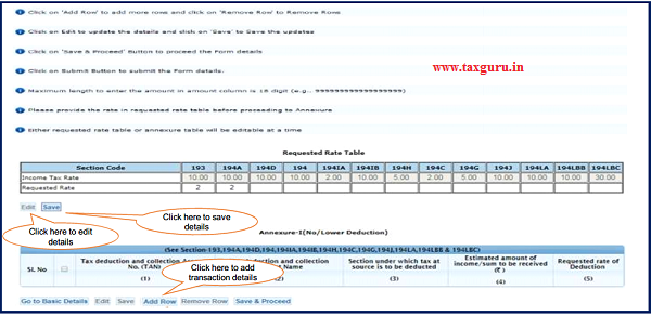 Step 7 (Contd.) Provide rate in requested rate table before proceeding to Annexure-I No Lower Deduction