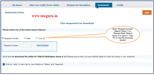 Step 7 (Contd.) Status of the request can be tracked by the search Options