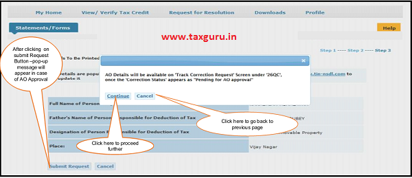Step 7 ( Contd.) User is navigated to final submission page