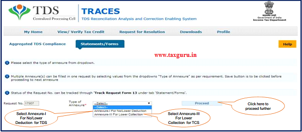 Step 7 Select the type of annexure from dropdown and click on Proceed button