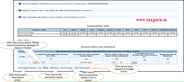 Step 8 (Contd.) Click on 'Add Row' button to add transaction details