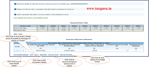 Step 8 (Contd.) Click on 'Add Row' button to add transaction