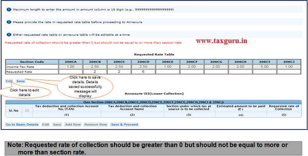 Step 8 (Contd.) Provide rate in requested rate table before proceeding