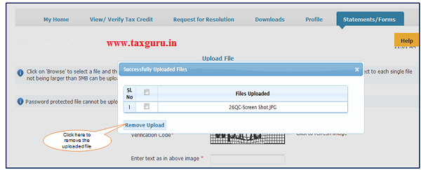 Step 8 (Contd.) User can remove the uploaded filed by clicking on 'Files Uploaded' button then select the required file and click on 'Remove upload
