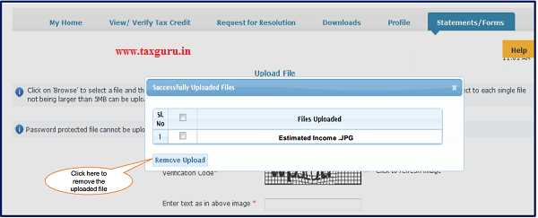 Step 8 (Contd.) User can remove the uploaded filed by clicking on Files