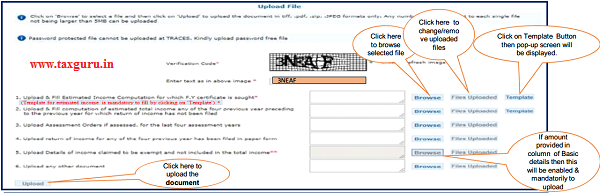 Step 8 Upload files and fill the Estimated Income Computation for which Financial Year certificate is sought