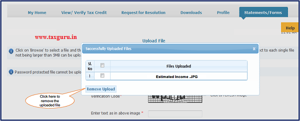Step 8(Contd.) User can remove the uploaded filed by clicking on 'Files Uploaded' button then select the required file and click on 'Remove upload'