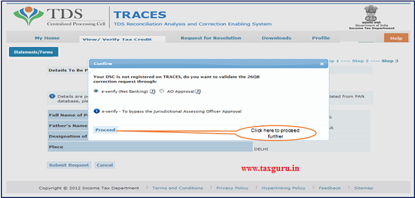 Step 9 After submission of Correction Request if DSC(Digital Signature Certificate)