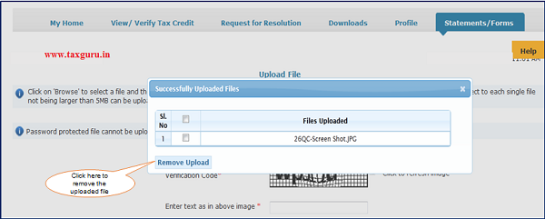 Step 9 (Contd.) User can remove the uploaded filed by clicking
