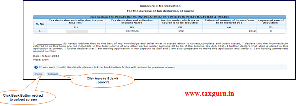 """Step 9 (Contd.) User need to click on """"Submit """" for final submission"""