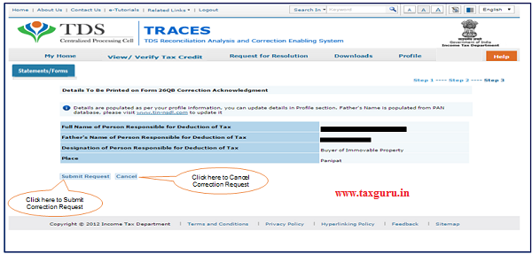 """Step 9 Profile details will be populated as per TRACES Profile. Click on """"Submit Request"""" to Submit Correction Request."""