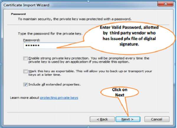 Steps for Installation of Digital Signature Certificate (.PFX file) image 4