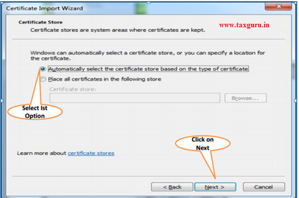 Steps for Installation of Digital Signature Certificate (.PFX file) image 5