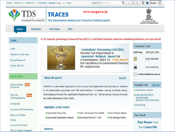 TRACES Home Page- Tax Payer Forgot Password E-Tutorial 26QB Justification Report