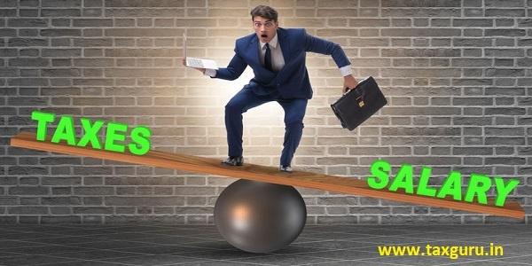 Businessman balancing between taxes and salary