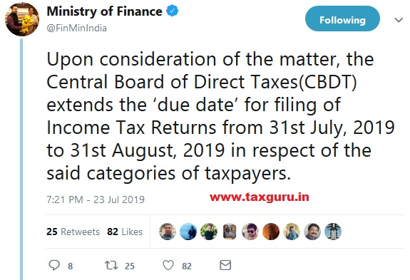 Extension of date for filing of Income Tax Returns
