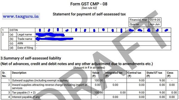 Filing Process of Form GST CMP-08