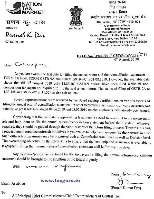 CBIC Chairman Message on Annual GST Return Filing