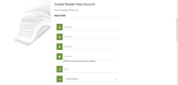 Create Reader New Account