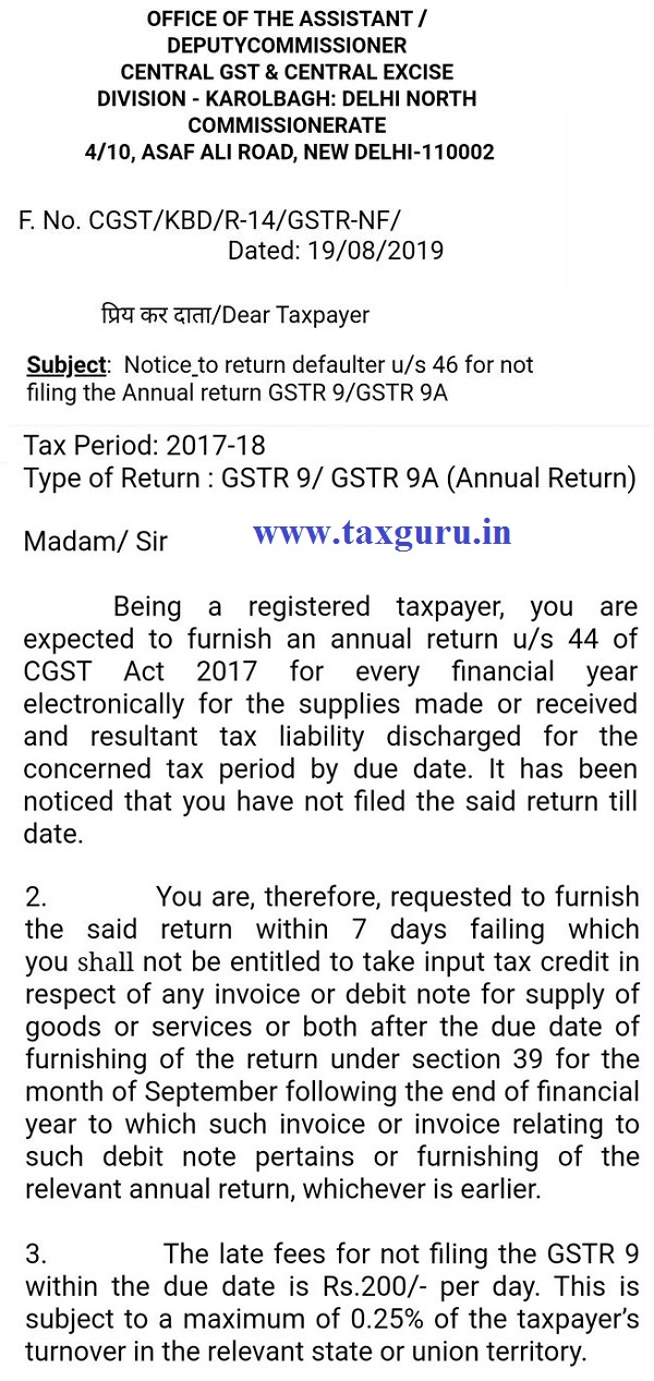 GST Notice for Not filing of GSTR 9 and GSTR 9A