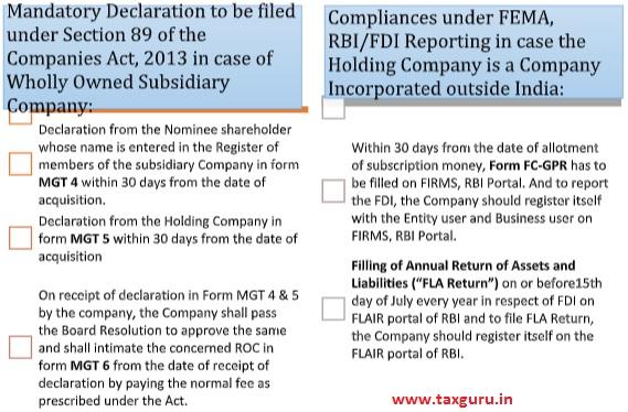 Mandatory Declaration to be filed